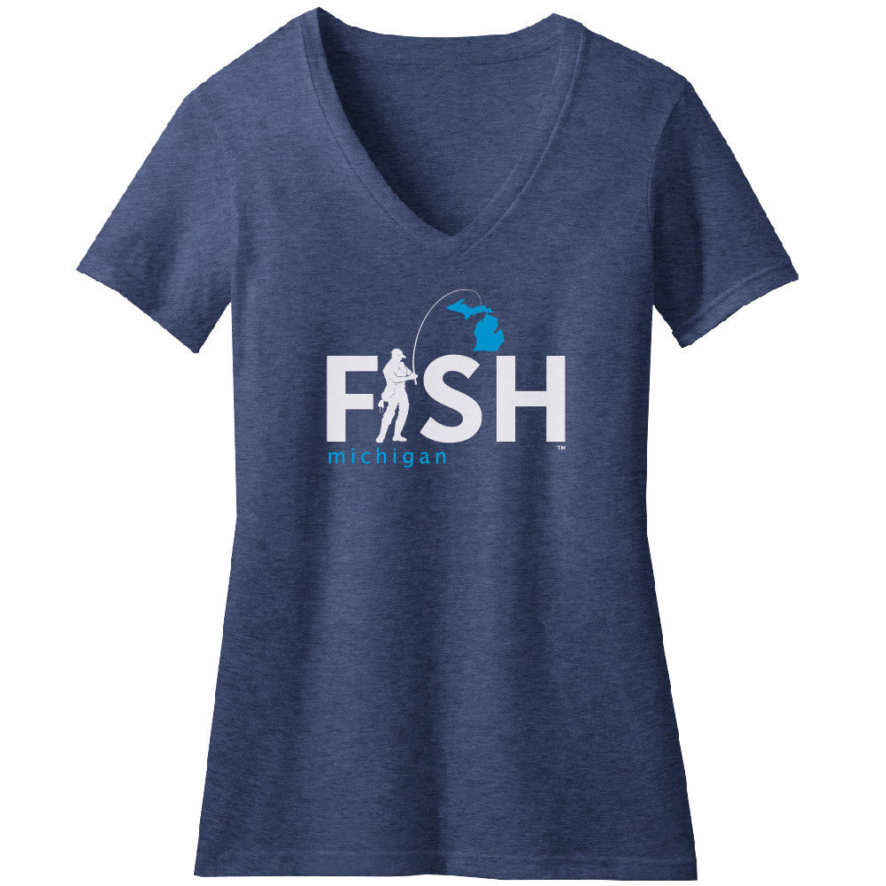 Michigan Fisherman Womens V-Neck