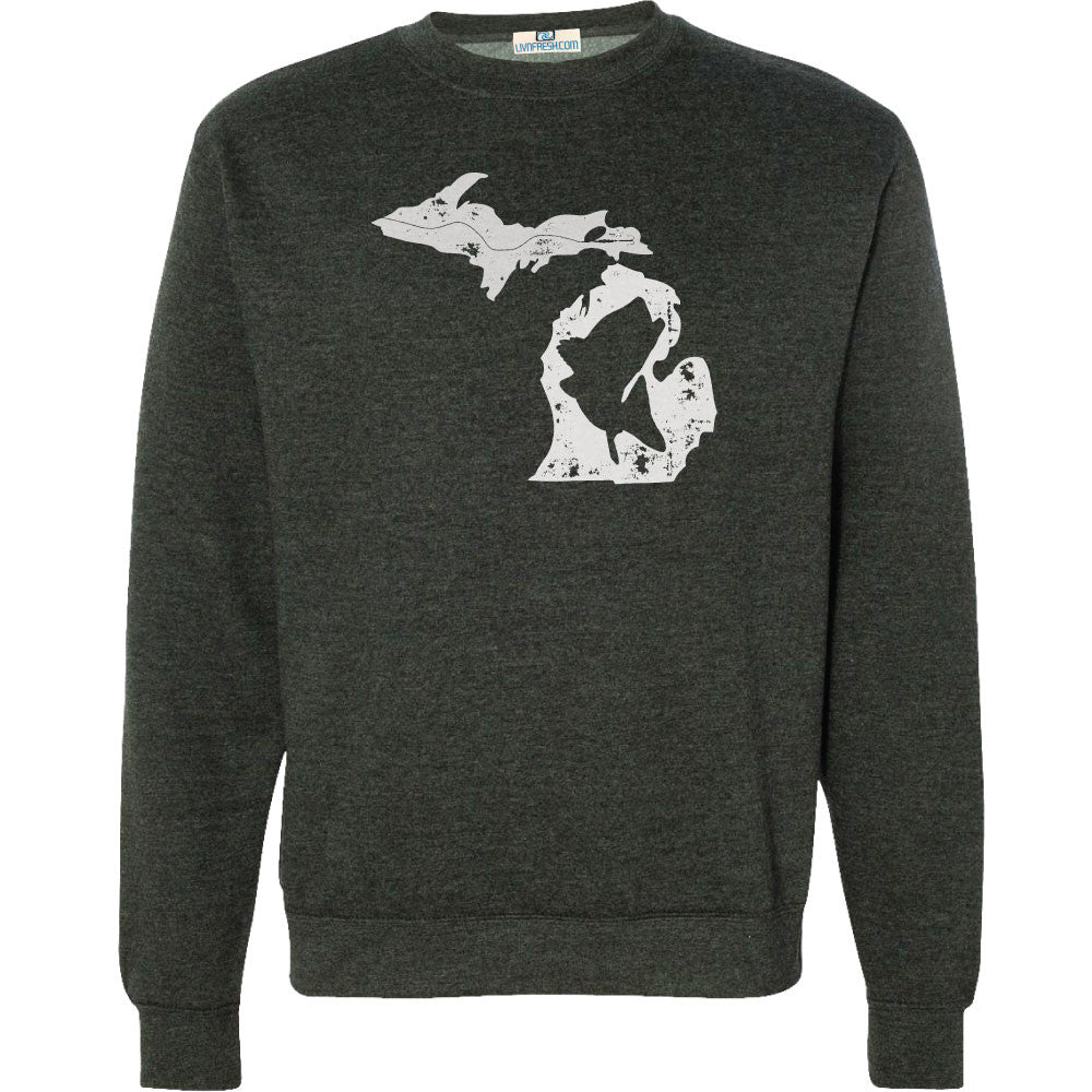Michigan Fish State Men's Crew Sweatshirt Charcoal