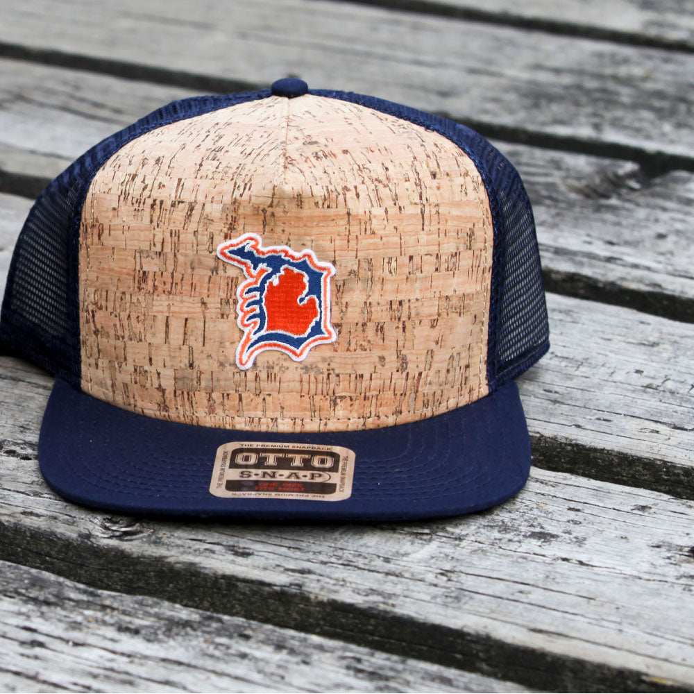Michigan D Cork Flat Bill Hat Navy-BUY ONE GET ONE FREE! USE CODE FREEHAT