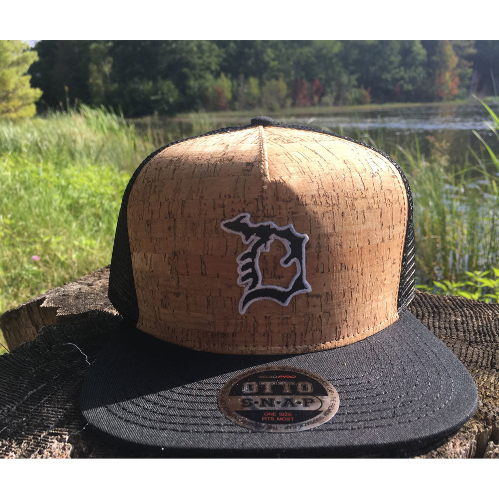Michigan D Black D Cork Flat Bill Hat-BUY ONE GET ONE FREE! USE CODE FREEHAT