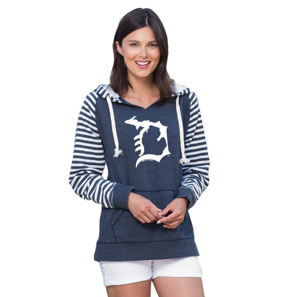 Michigan D Womens Striped Chalk Terry Pullover