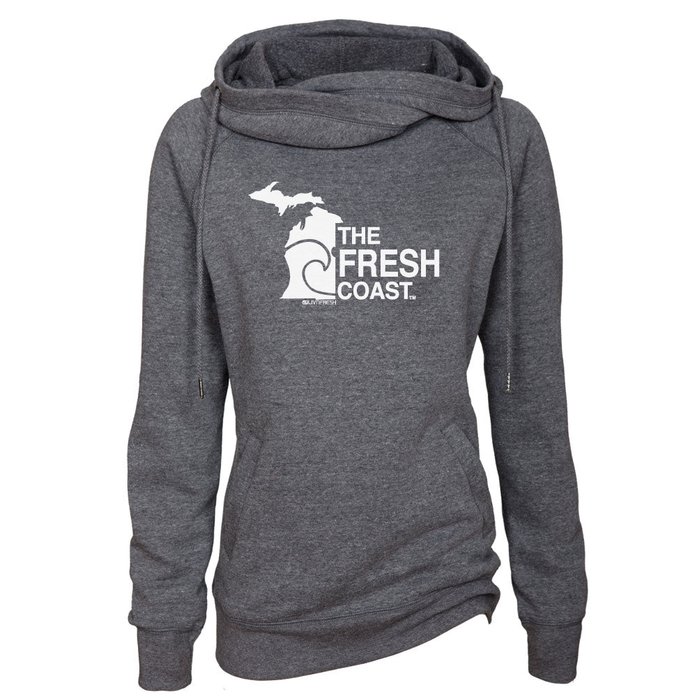Michigan Fresh Coast Womens Fleece Funnel Neck Pullover Hoodie