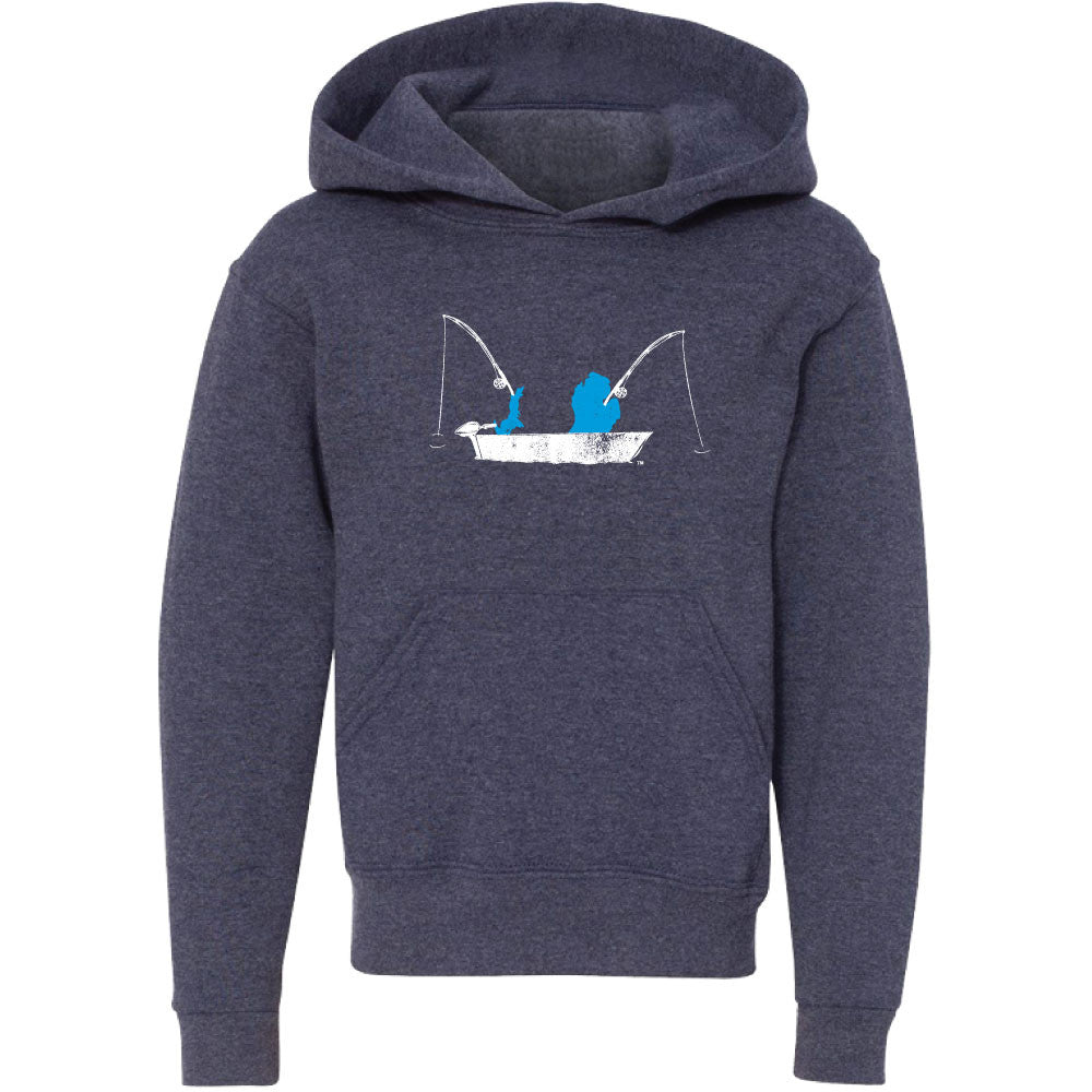 Michigan Fishing Boat Youth Hooded Sweatshirt