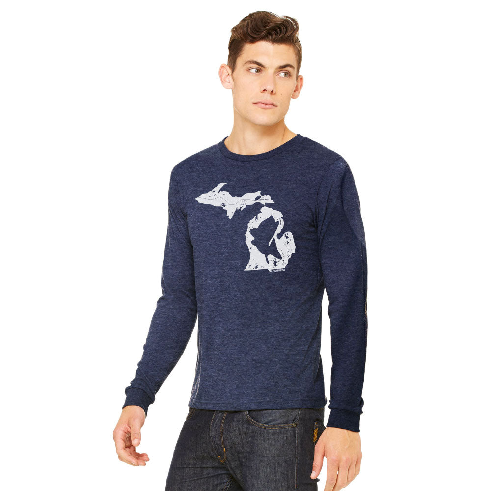 Michigan Fish State Mens Long Sleeve T-Shirt