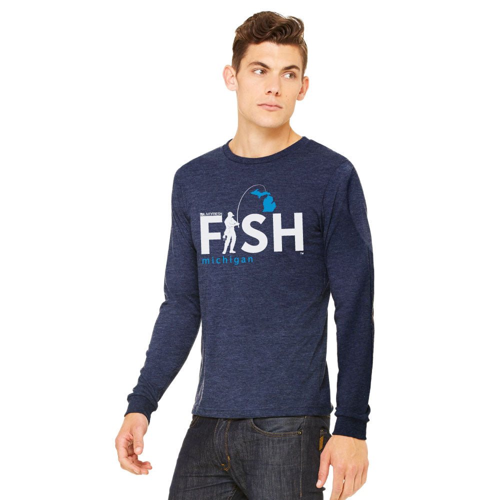 Michigan Fisherman Mens Long Sleeve T-Shirt