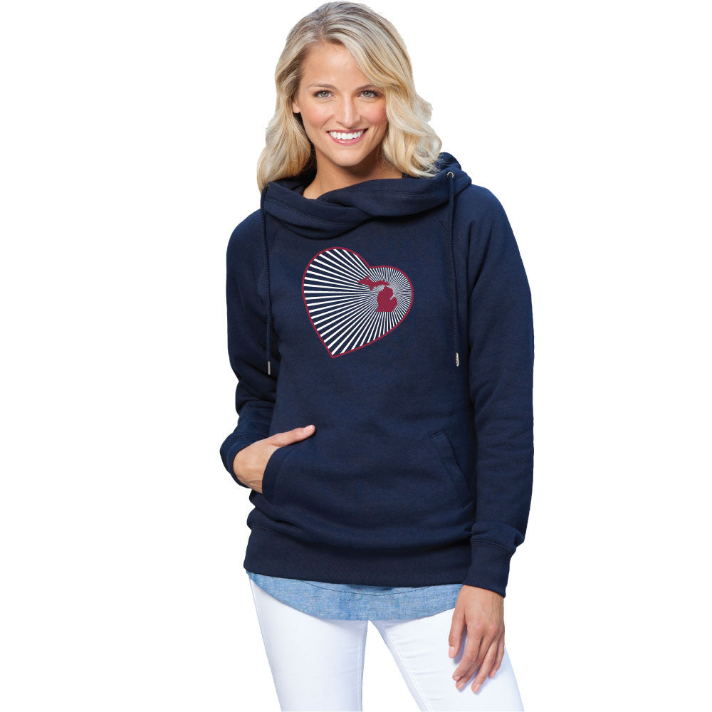 Michigan Heart Womens Fleece Funnel Neck Pullover Hoodie