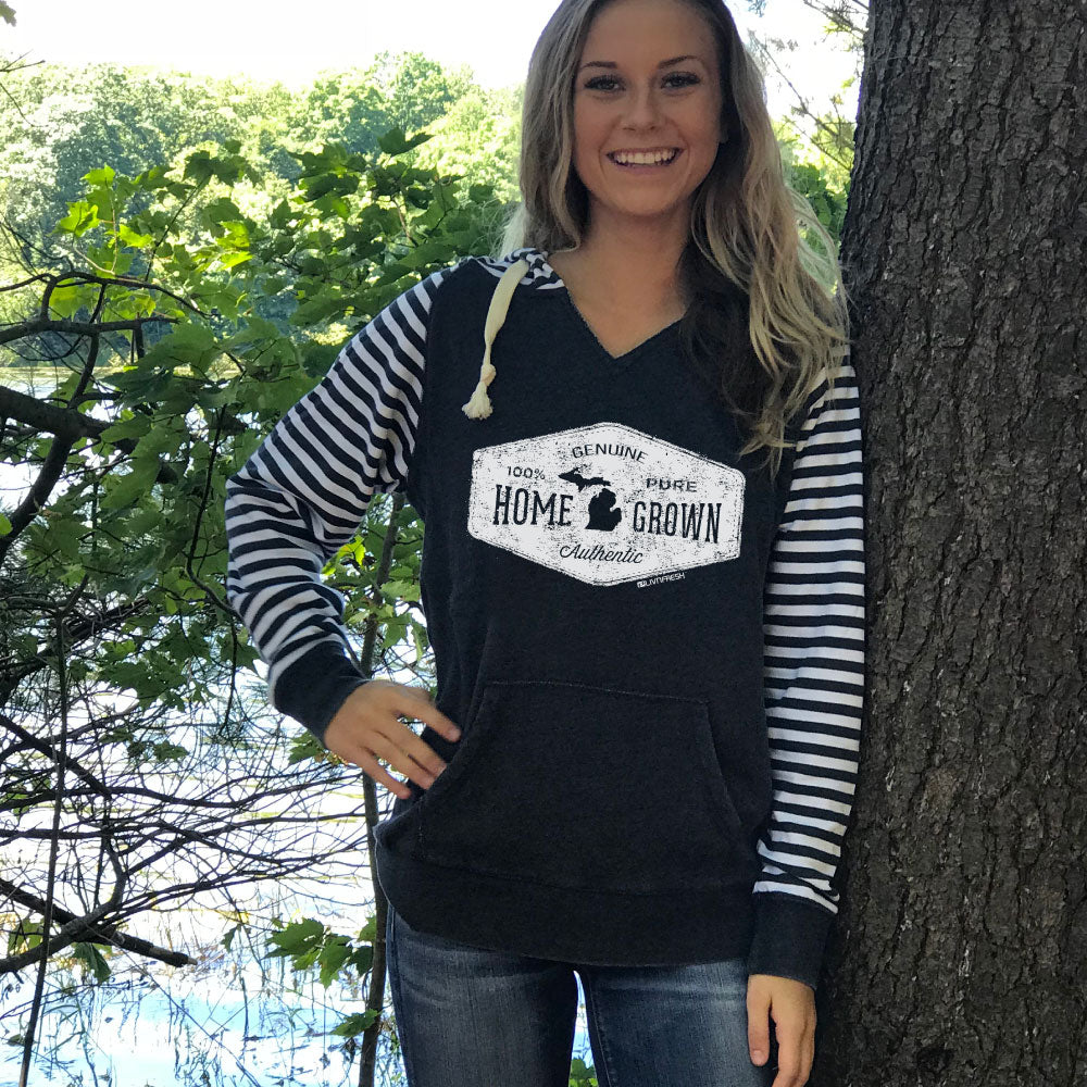 Michigan Home Grown Womens Striped Chalk Terry Pullover
