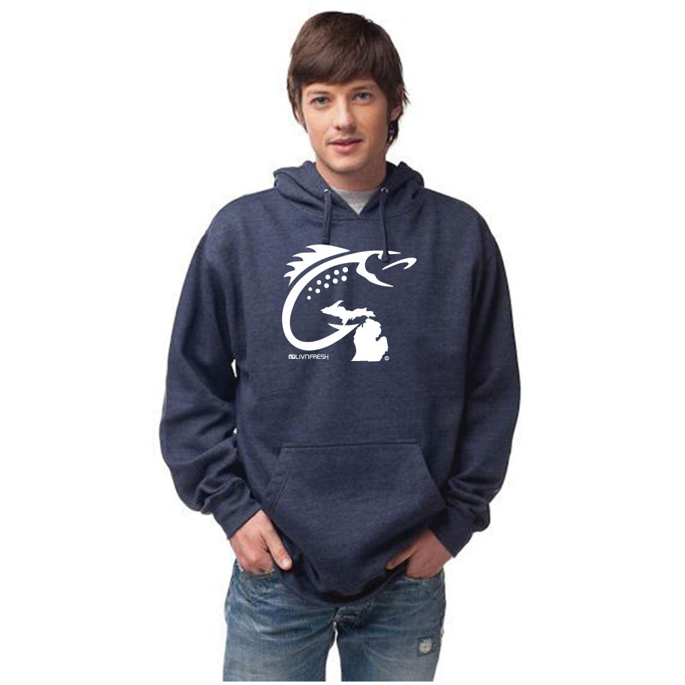 Michigan Fish Hook Men's Basic Hoodie Navy
