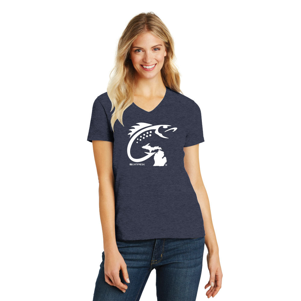 Michigan Fish Hook Women's V-Neck Navy