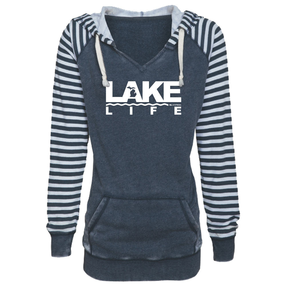 Michigan Lake Life Women's Striped Chalk Terry Pullover