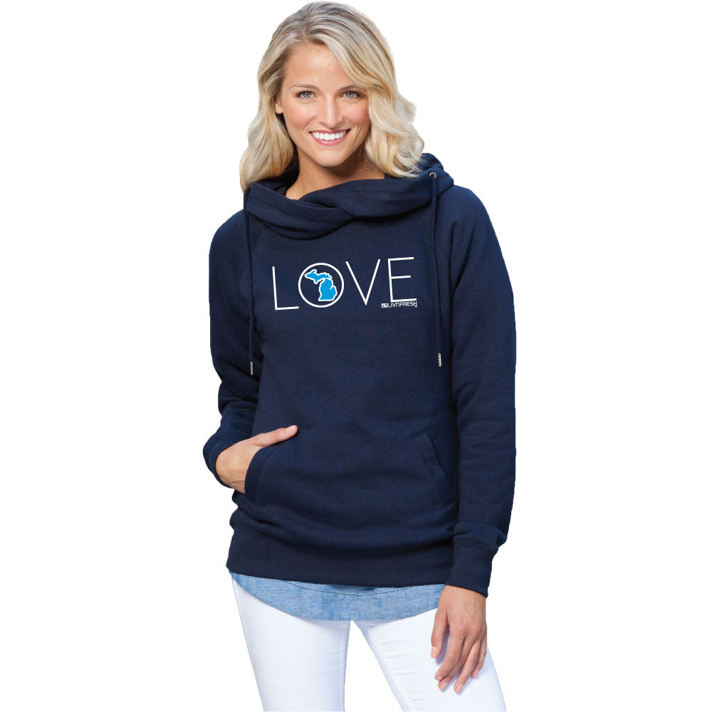 Michigan Love Womens Fleece Funnel Neck Pullover Hoodie