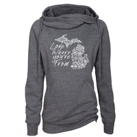 Michigan Love Where You're From Womens Fleece Funnel Neck Pullover Hoodie