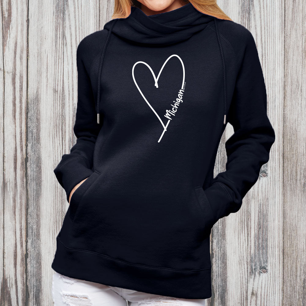 """Michigan Made With Love"" Women's Fleece Funnel Neck Pullover Hoodie"