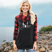 """Michigan Love #9"" Women's Plaid Sleeve Funnel Neck Top"