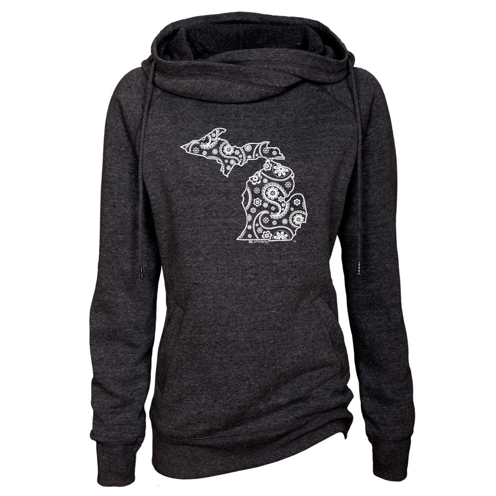 Michigan Paisley Womens Fleece Funnel Neck Pullover Hoodie