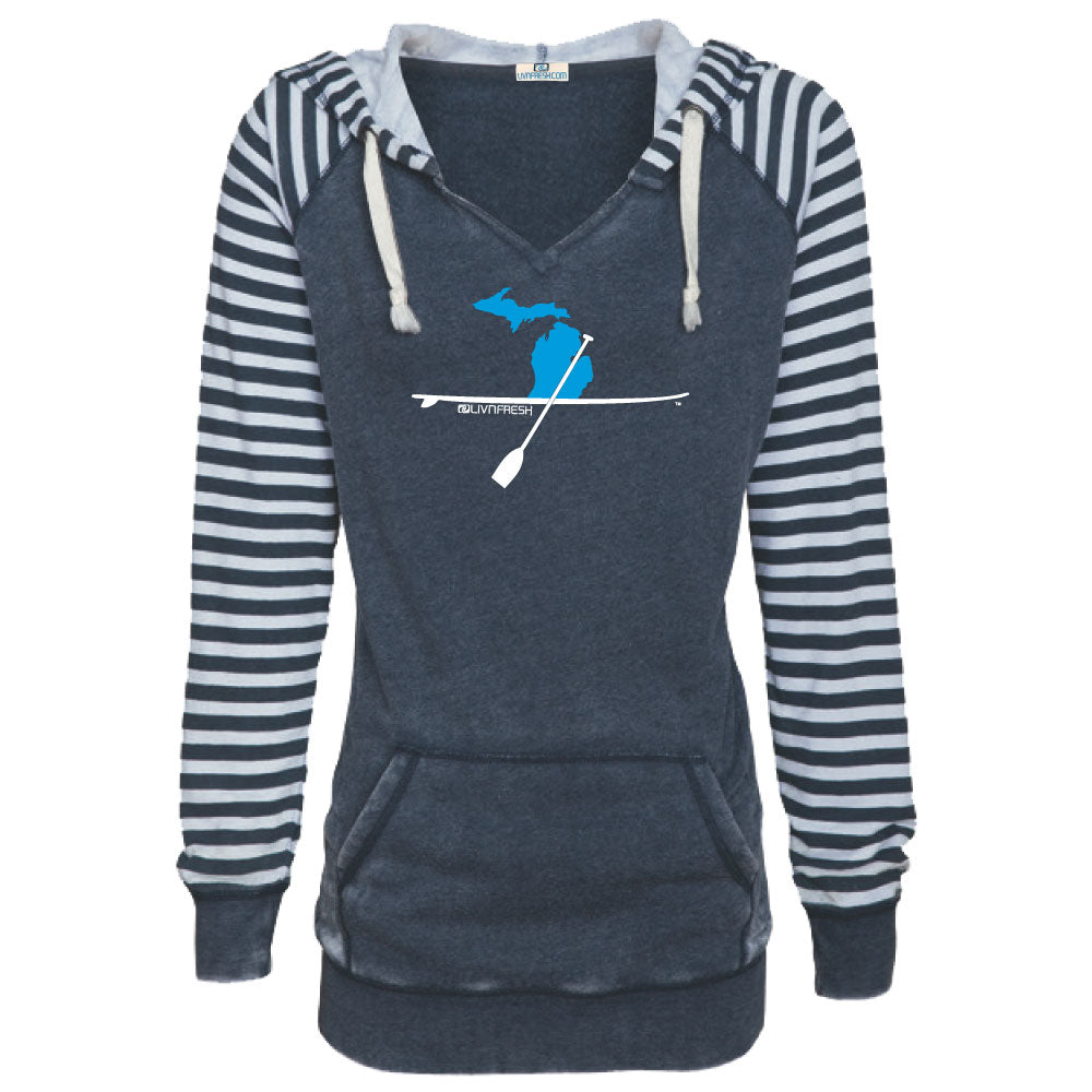 Michigan Paddle Board Women's Striped Chalk Terry Pullover