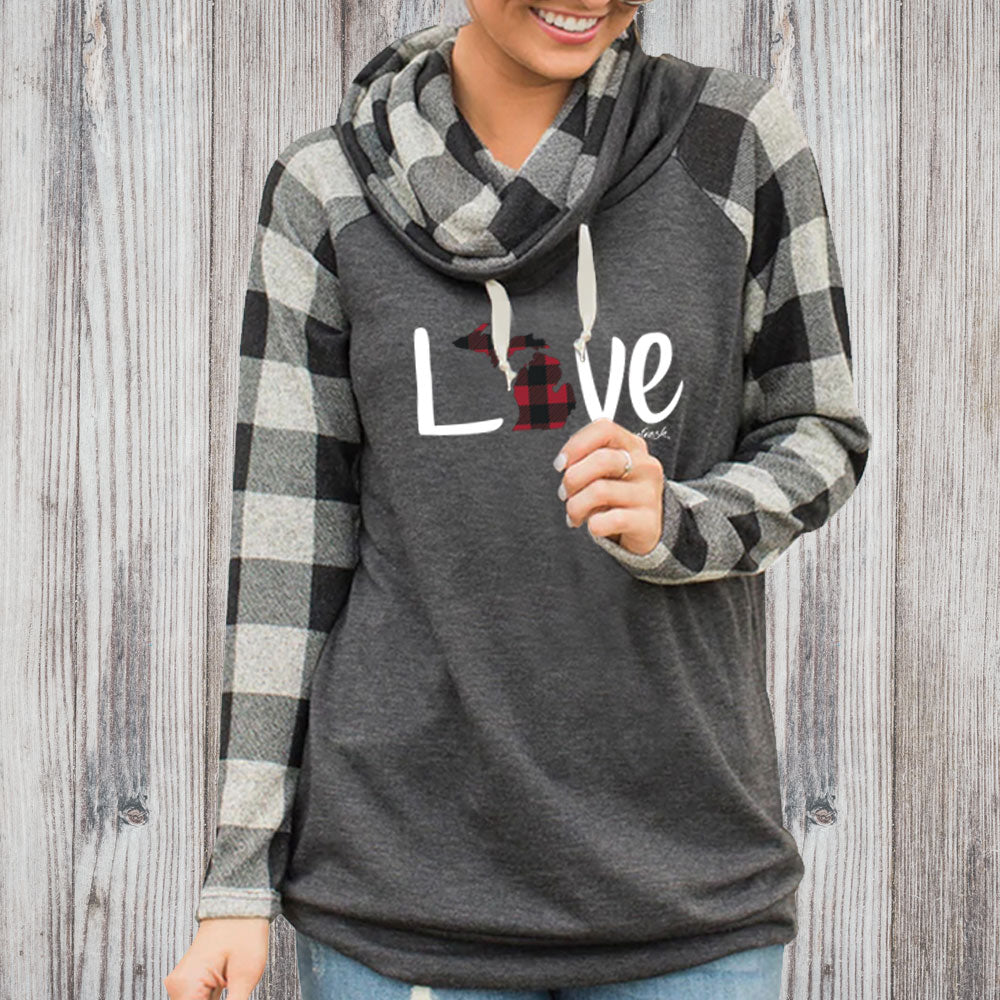 """Michigan Love Plaid"" Women's Plaid Sleeve Funnel Neck Top"