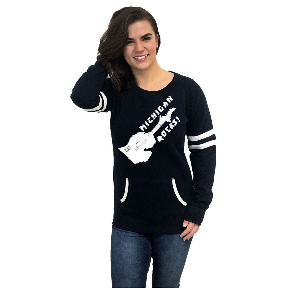 Michigan Rocks Guitar Varsity Fleece Crew Sweatshirt