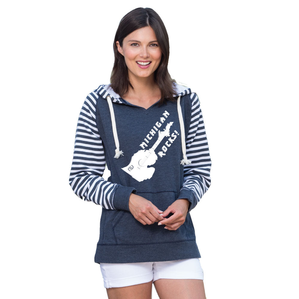 Michigan Rocks Guitar Women's Striped Chalk Terry Pullover