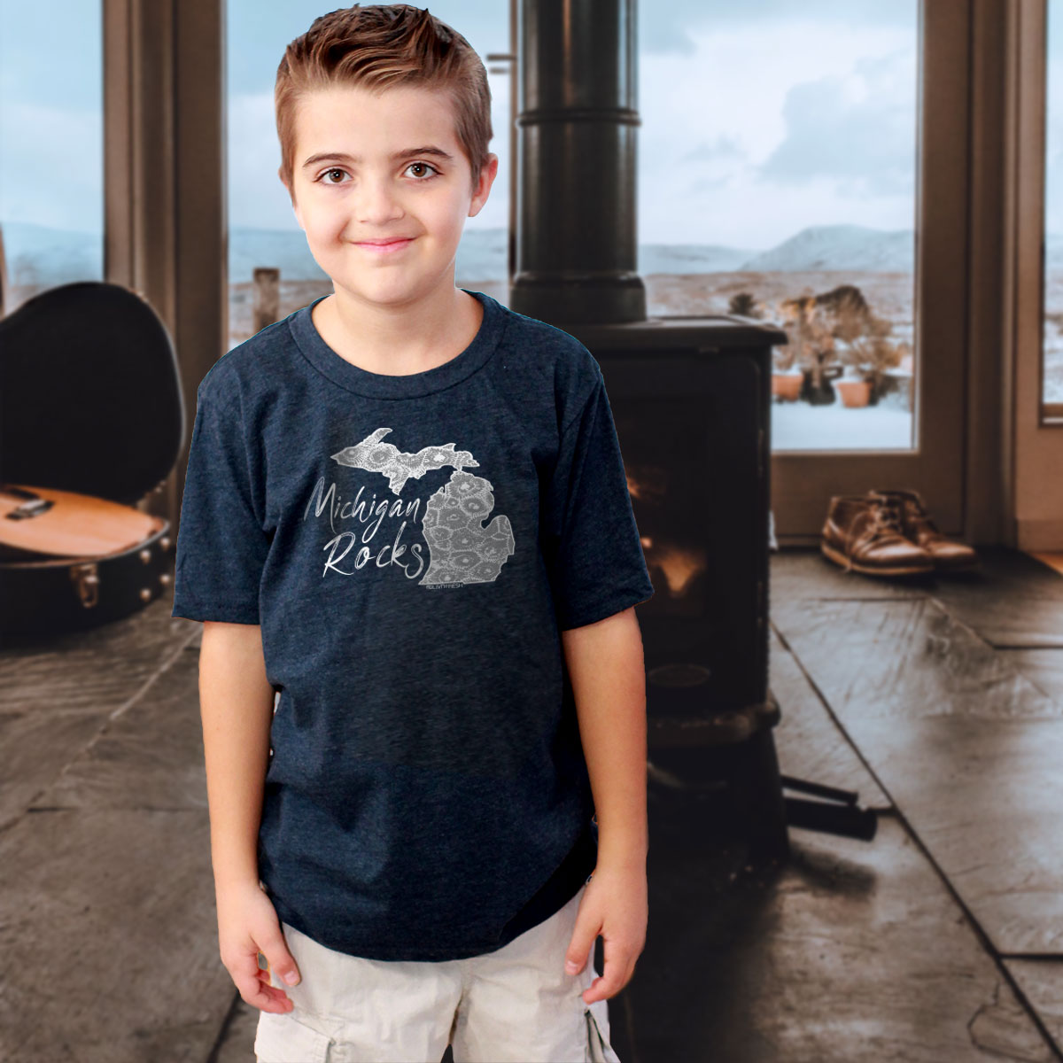 """Michigan Rocks Petoskey Stone"" Youth T-Shirt"