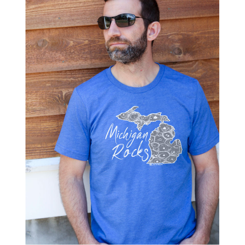 Michigan Rocks Petoskey Stone Men's Crew T-Shirt
