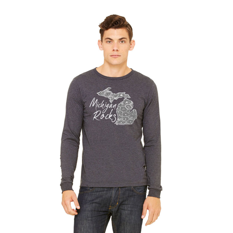 Michigan Rocks Petoskey Stone Men's Long Sleeve T-Shirt