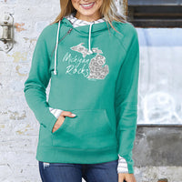 """Michigan Rocks Petoskey Stone"" Women's Striped Double Hood Pullover"