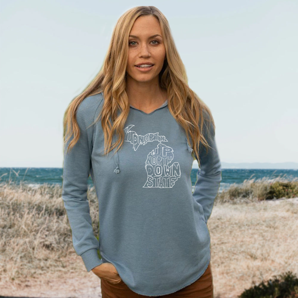 Michigan Words Women's Ultra Soft Wavewash Hoodie