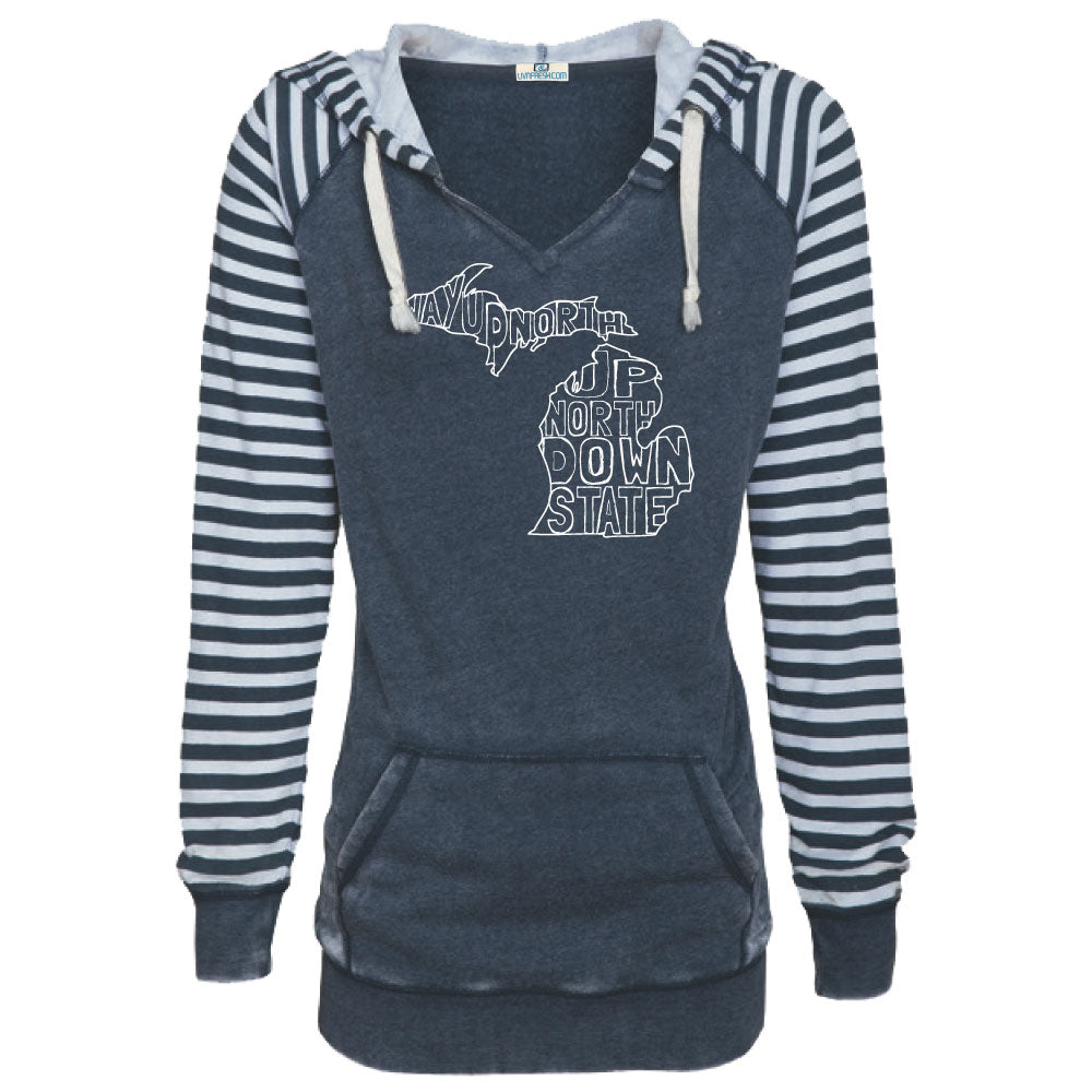 Michigan Words Women's Striped Chalk Terry Pullover
