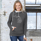 Michigan Words Women's Striped Double Hood Pullover