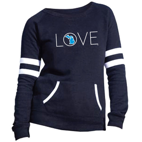 Michigan Long Love Womens Varsity Fleece Crew Sweatshirt