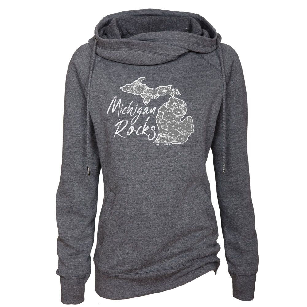 Michigan Rocks Petoskey Stone Women's Fleece Funnel Neck Pullover Hoodie