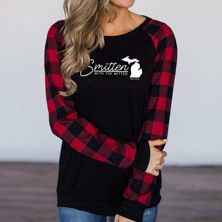 """Smitten With The Mitten"" Women's Plaid Long Sleeve T-Shirt"