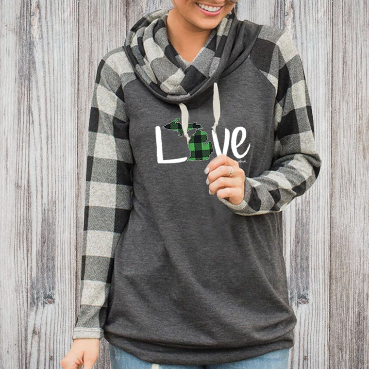"""Michigan Green Love Plaid"" Women's Plaid Sleeve Funnel Neck Top"