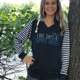 Michigan Lake Days And Summer Nights Women's Striped Chalk Terry Pullover