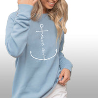 """Nauti Girl Anchor"" Women's Ultra Soft Wave Wash Crew Sweatshirt"