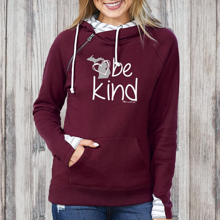 """Michigan Be Kind"" Women's Striped Double Hood Pullover"