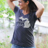 Michigan Rocks Petoskey Stone Women's V-Neck