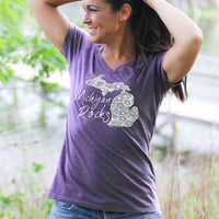 """Michigan Rocks Petoskey Stone"" Women's V-Neck"