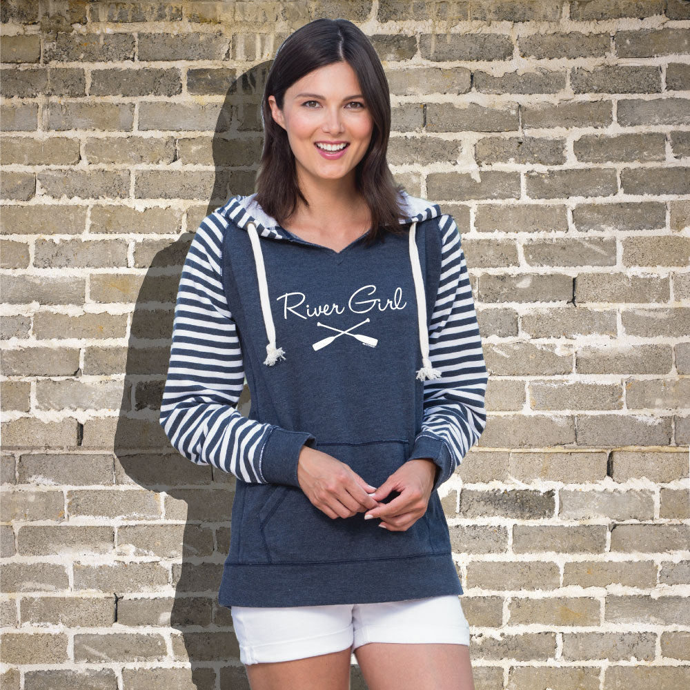 River Girl Women's Striped Chalk Terry Pullover