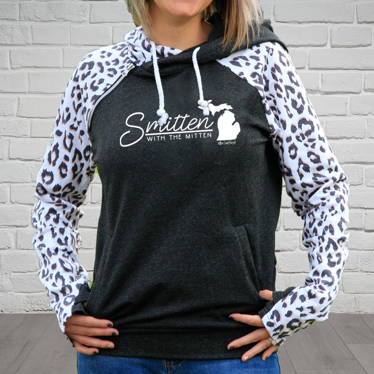 """Smitten With The Mitten"" Women's Side Zip Fashion Leopard Hoodie"