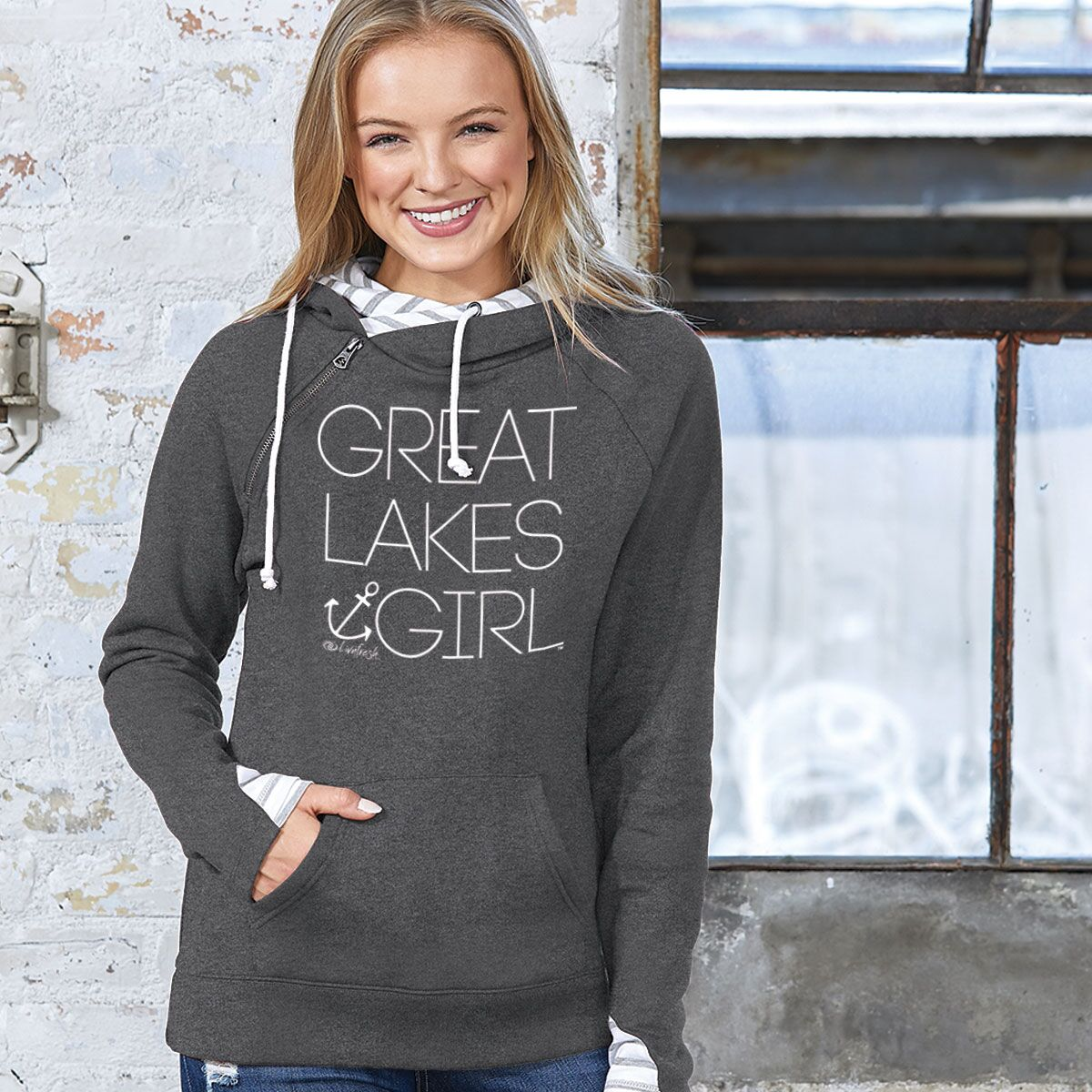 Great Lakes Girl Women's Striped Double Hood Pullover