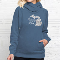 """Michigan Rocks Petoskey Stone"" Women's Fleece Funnel Neck Pullover Hoodie"