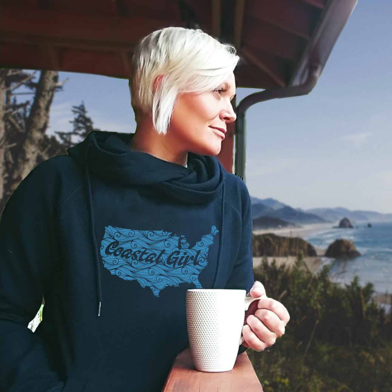 Coastal Girl Swirl Women's Fleece Funnel Neck Pullover Hoodie