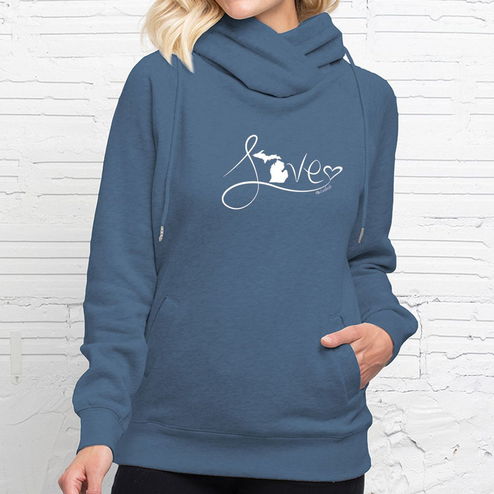 """Michigan Love #9"" Women's Fleece Funnel Neck Pullover Hoodie"
