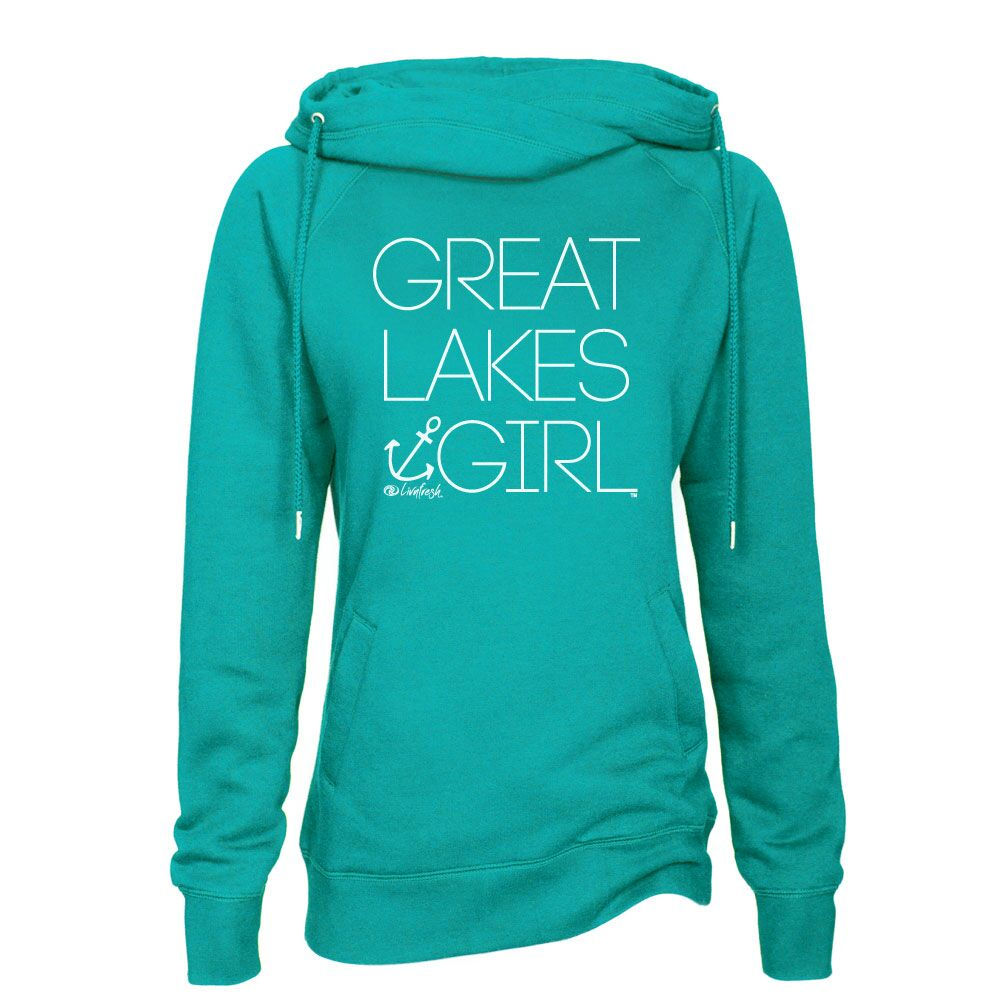 Great Lakes Girl Women's Classic Funnel Neck Pullover Hoodie