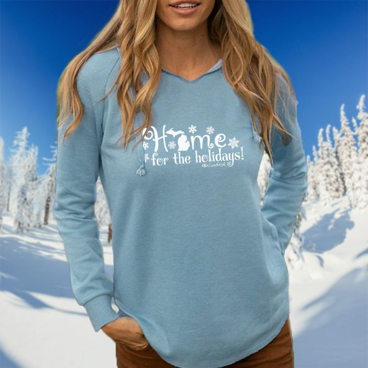 """Michigan Home For The Holidays"" Women's Ultra Soft Wave Wash Hoodie"