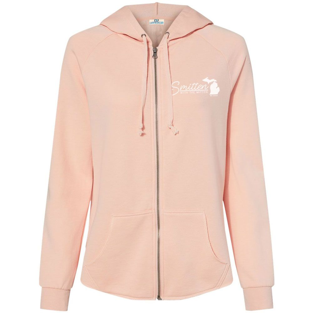 """Smitten With The Mitten"" Women's Ultra Soft Wave Wash Full Zip Hoodie"