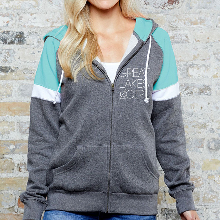 """Great Lakes Girl"" Women's Heavy Full Zip Varsity"
