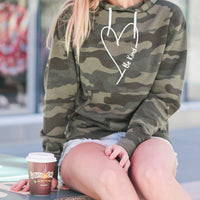 """Be Kind With Love""  Women's Boyfriend Camo Hoodie"
